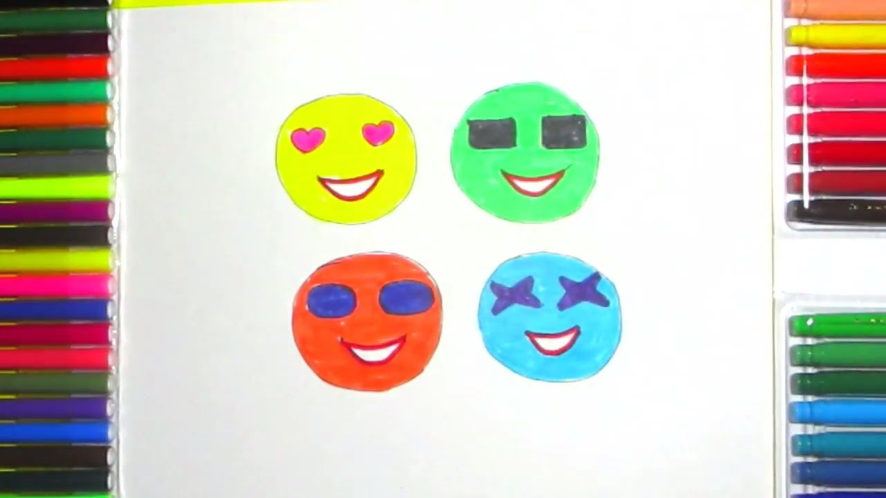 17e9dca9010 How To Draw Smiley Faces With Cute Sunglasses - YouTube