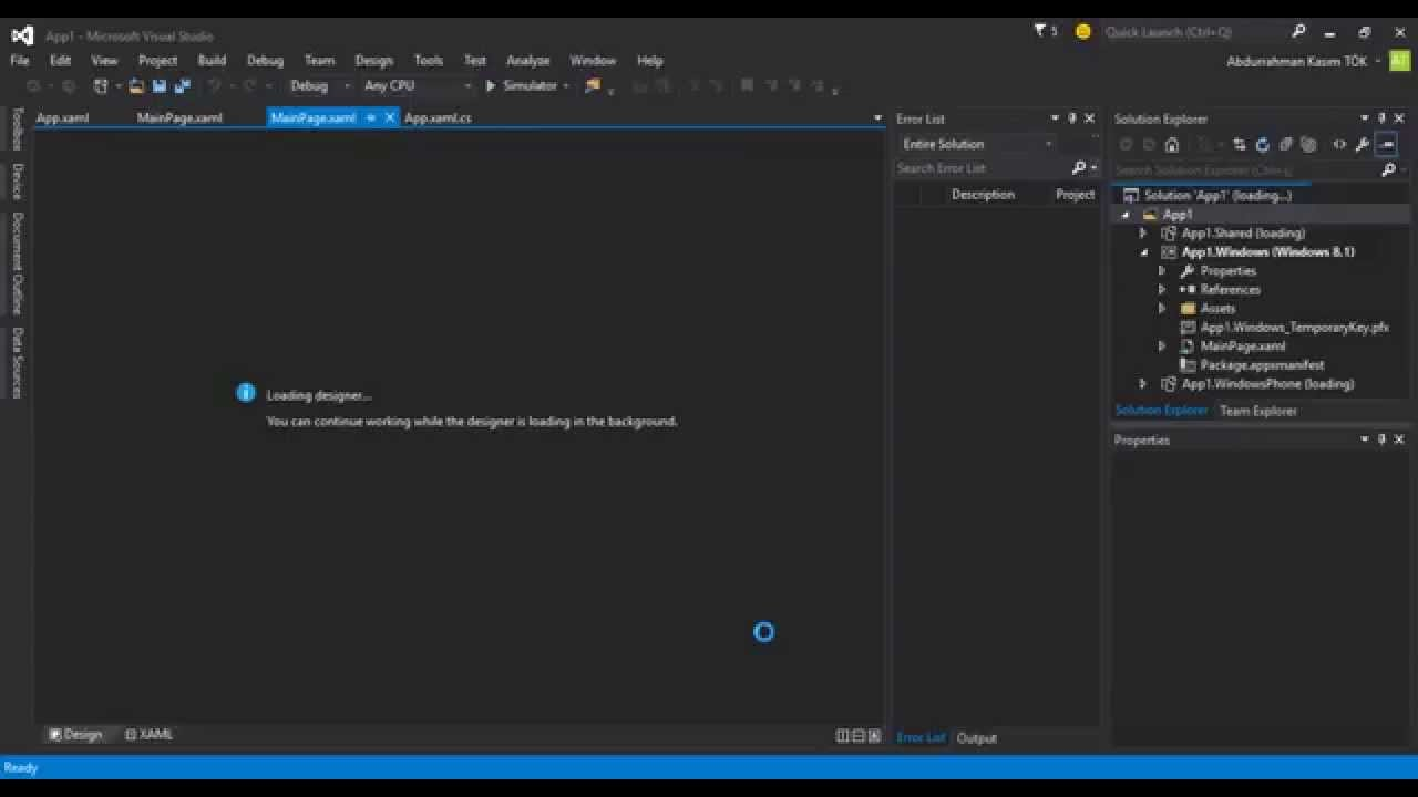 Open Project - Visual Studio Community 2015