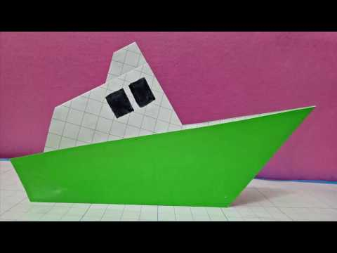 Diy origami a paper steam ship/easy fold for kid/how to make paper steam ship/peper ship tutorial