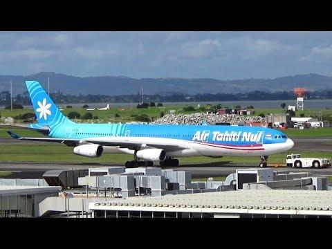 Oil Leak??? | Air Tahiti Nui A340-300 Landing Auckland Airport || F-OJTN