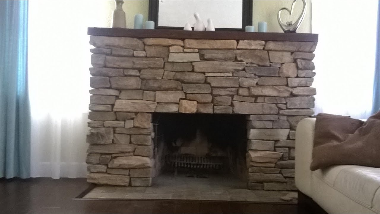 Install Stone veneers over old brick fireplace DIY - YouTube