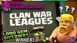 NEW Clan War Leagues | 1000 Gem Winner Announced | Clash of Clans