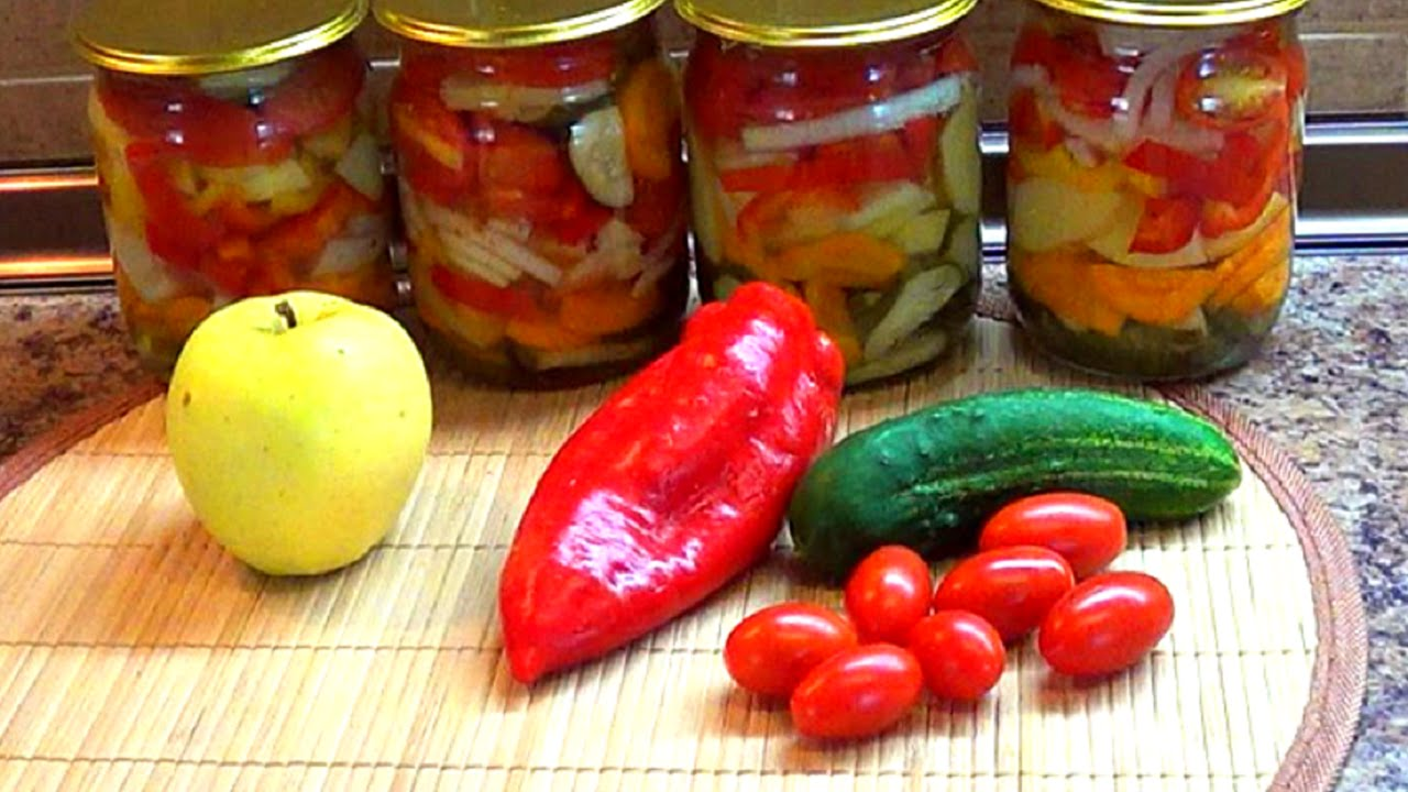 Заготовки на зиму. Овощной салат без масла. Очень быстро и просто.