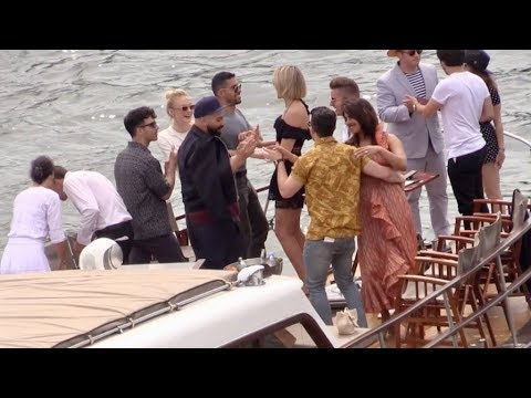 EXCLUSIVE : Boat trip dance and fun for Joe Jonas Nick Jonas Sophie Turner and Priyanka Chopra on