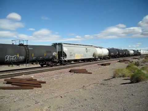 BNSF Railroad Westbound mixed freight near Ludlow CA off National Trails Highway grade crossing