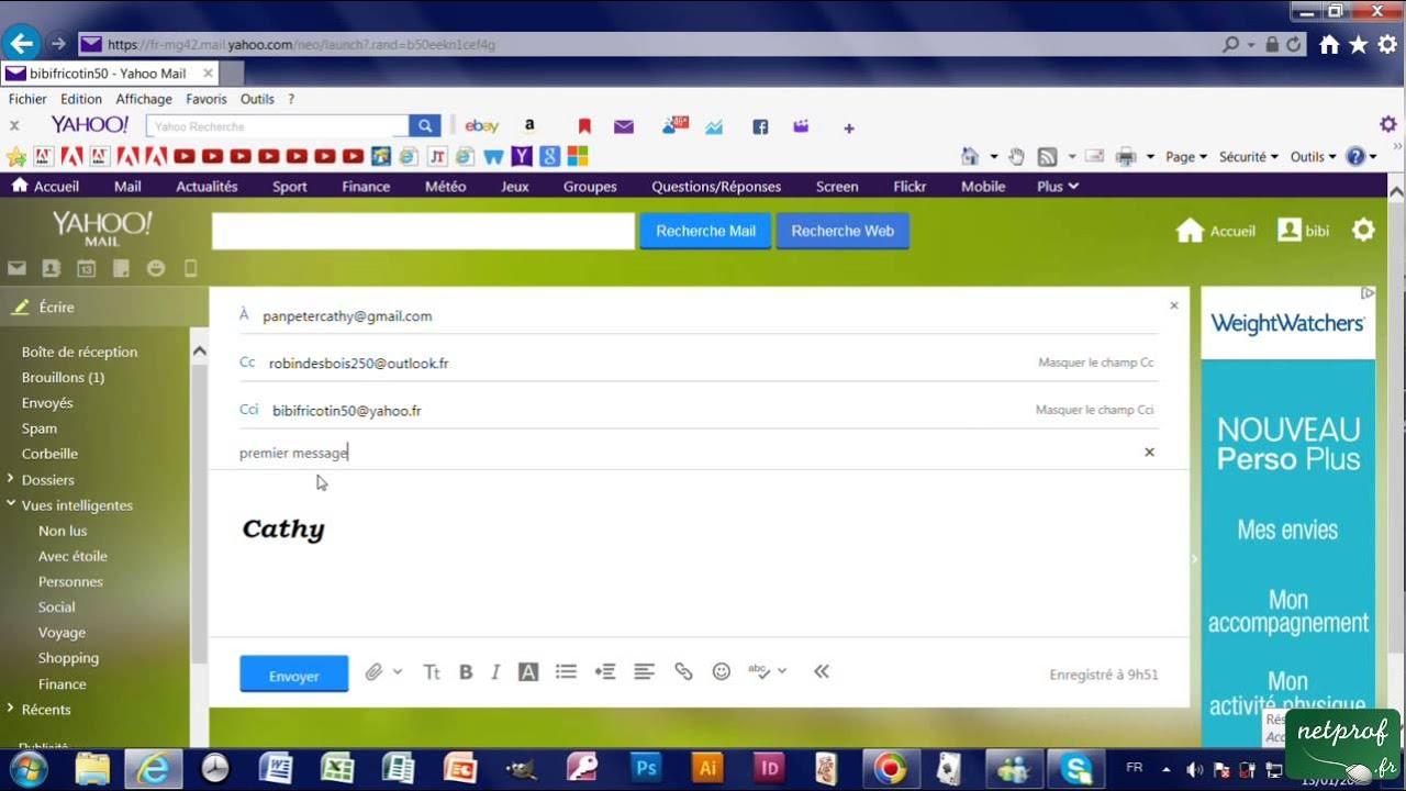 2b Ecrire Envoyer Un Mail Avec Yahoo Les Différents Champs
