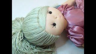 Como fazer cabelo de boneca de pano (Penteado)