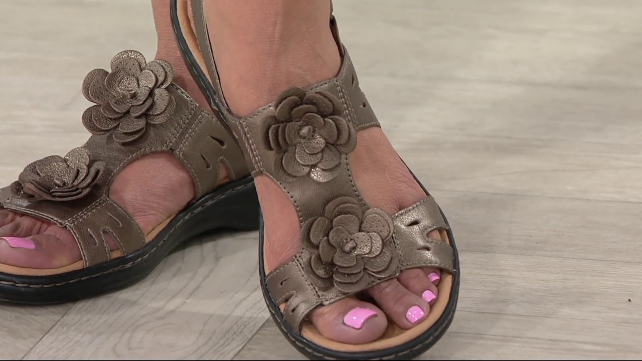 114beb6c7889 Clarks Leather Lightweight Sandals with Flower Detail - Leisa Claytin on QVC