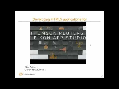 Developer Webinar: Introduction to Thomson Reuters Eikon App Studio