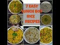 7 Quick and Easy Rice Recipes - Part 1|Lunch Box Recipes|One Pot Pressure Cooker Rice Recipes