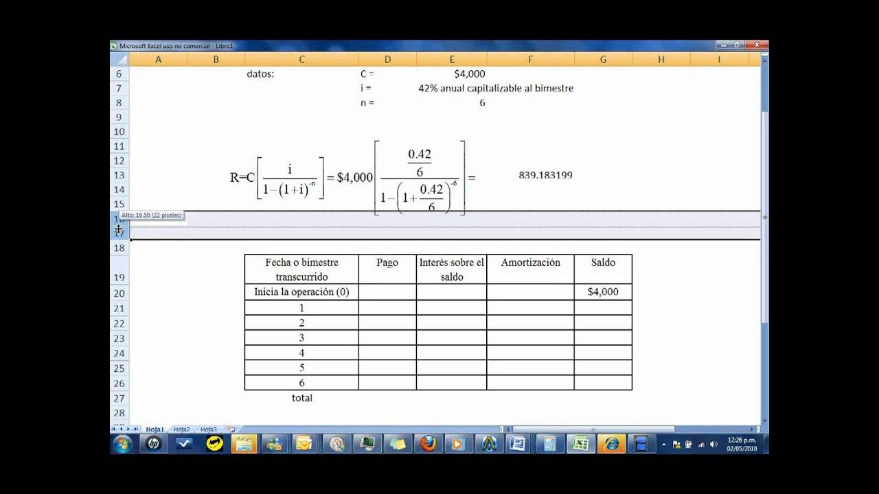 como crear una tabla de amortizacion en EXCEL - YouTube