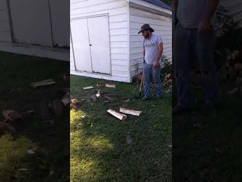 Richard chopping wood in Girard