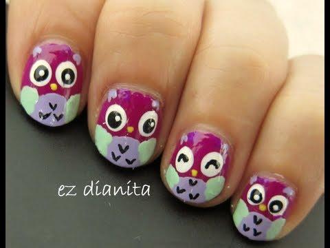 diseo de uas buhos tiernos estilo kawaiiowl nail art