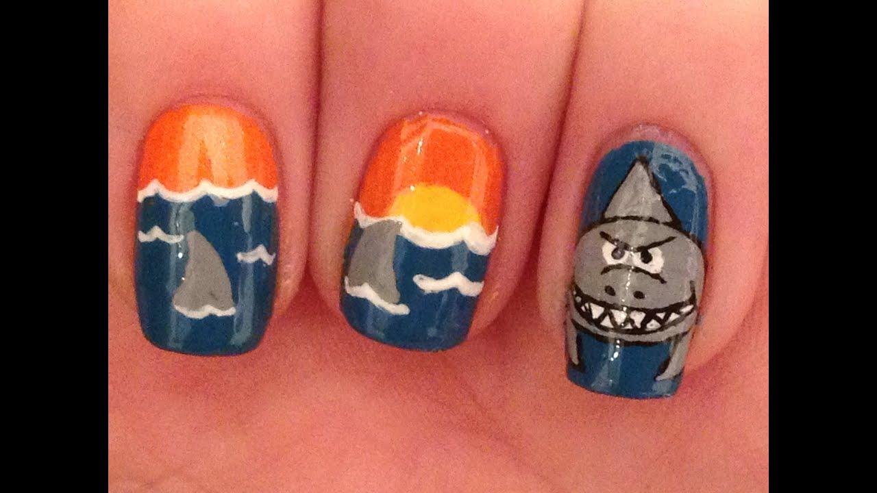 shark nail art tutorial