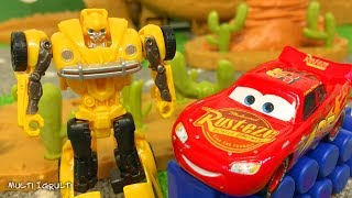 Тачки Молния Маквин Бамблби Трансформер Мультики про Машинки с Игрушками для Детей