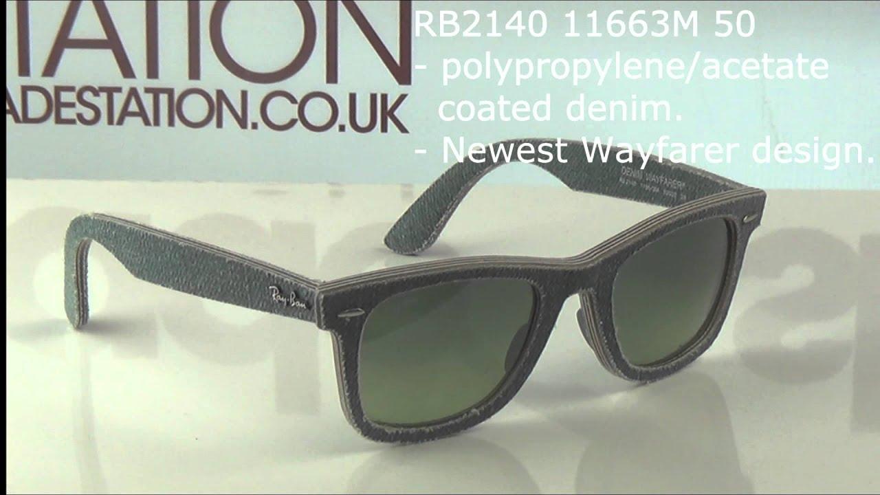 9b9a3e45038 Ray Ban RB2140 Denim Wayfarers Sunglasses Overview - YouTube