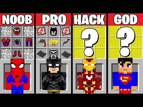 Minecraft Battle: SUPERHERO CRAFTING CHALLENGE - NOOB vs PRO vs HACKER vs GOD in Minecraft Animation thumbnail