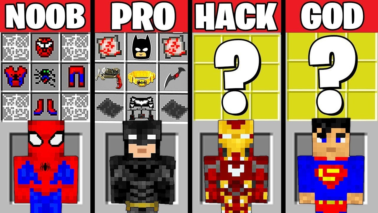 Minecraft Battle: SUPERHERO CRAFTING CHALLENGE - NOOB vs PRO vs HACKER vs GOD in Minecraft Animation