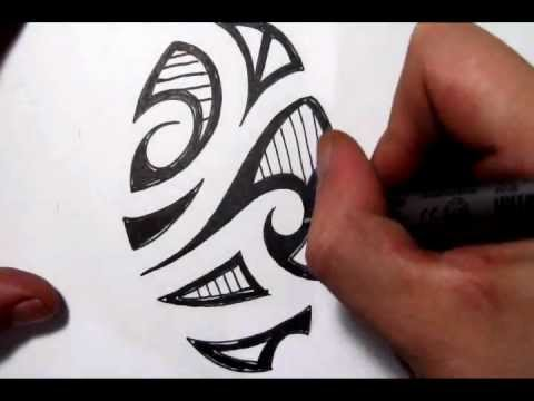 Sketching a Maori Tribal Picture - Quick Sketch - YouTube