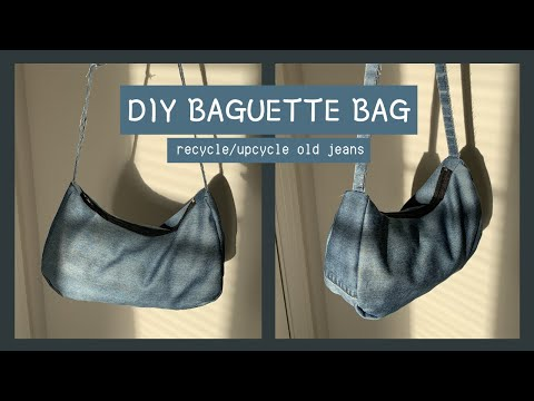 DIY BAGUETTE BAG - recycle/upcycle jeans tutorial - YouTube