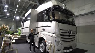 Largest motorhome in Europe:Mercedes ACTROS 26 to 12m extended room tour.STX 2 SlideOuts + cargarage