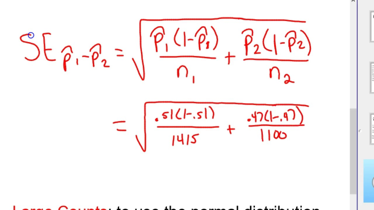 Two Sample z interval difference two proportions How - YouTube