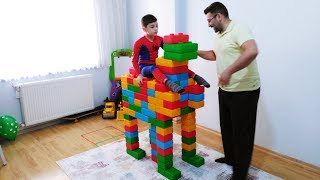Emir and Dad Made toy Colored  Brick Block Animals of the Farm  cow animal for children
