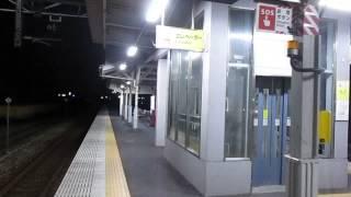 山陽本線【西阿知駅】夜間・ホーム(平成26年7月26日)