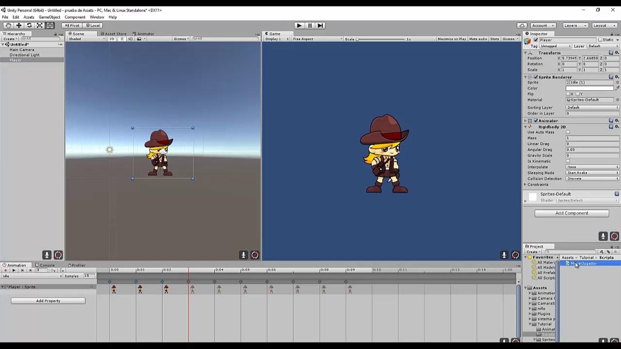 Juego 2d Unity 5 Animacion Idle Y Movimiento Basico Youtube