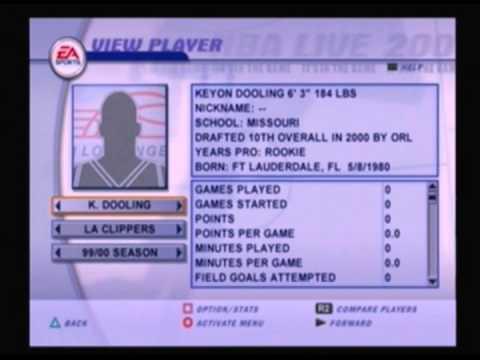 Top 20 picks of the 2000 Draft NBA Live 2001