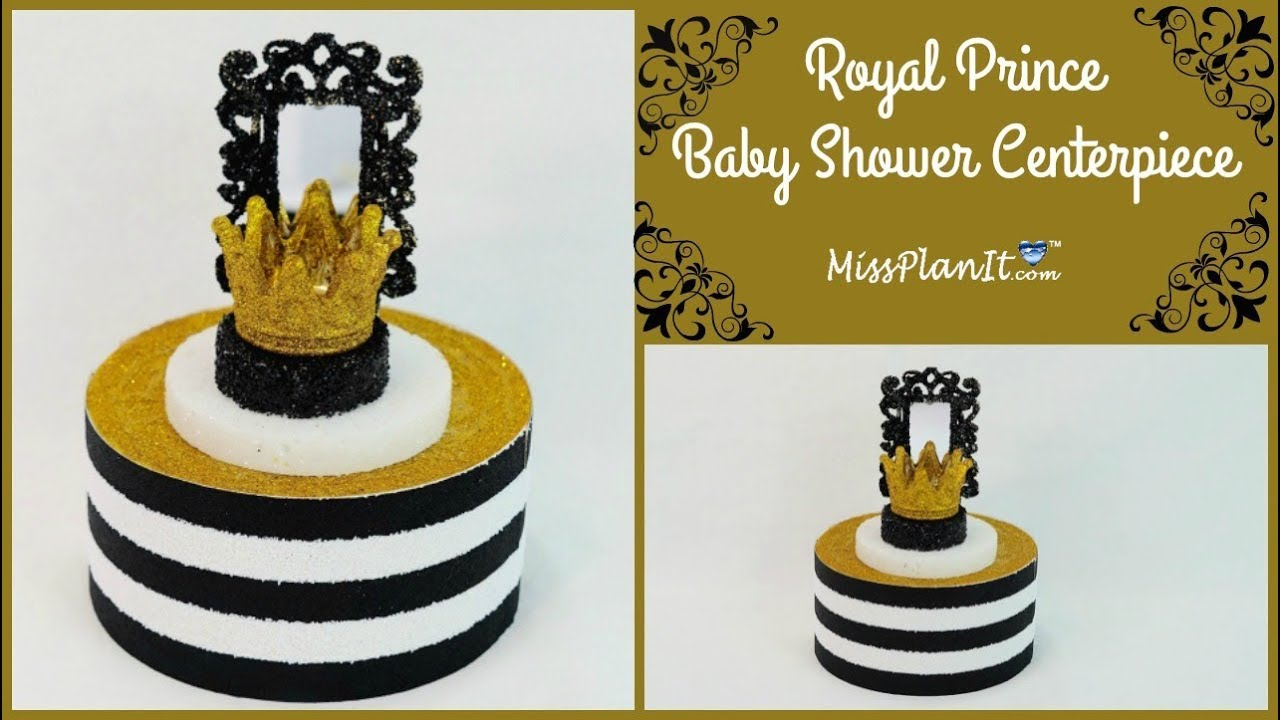 diy royal prince glam baby shower centerpiece boy baby shower