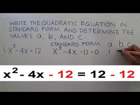 Write The Quadratic Equation In Standard Form