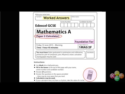 GCSE Maths Edexcel Foundation Calculator Paper June 2013 (worked answers)