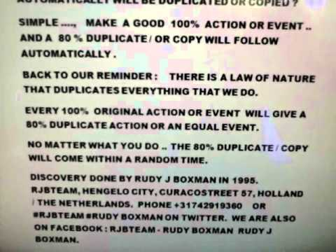 WORLD NEWS DISCOVERY LAW OF NATURE - DUPLICATION LAW by RUDY BOXMAN.