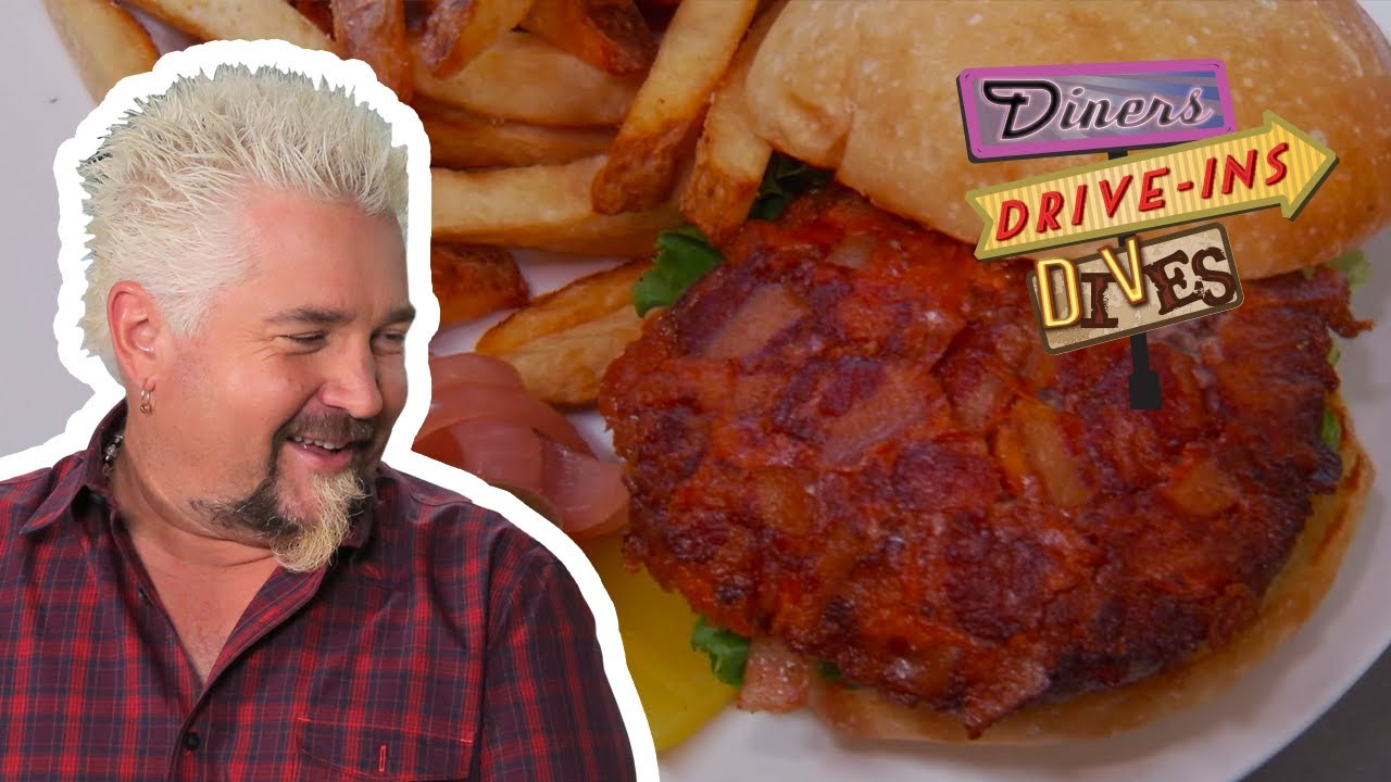 Guy Fieri Tries A Bacon And Blue Cheese Stuffed Burger Diners Drive Ins And Dives Food Network Youtube