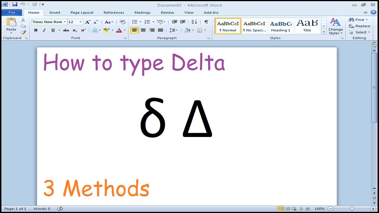 How To Type Delta Symbol In Microsoft Word Youtube