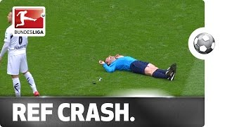 Referee Accident – Body Check Leaves the Ref on his Backside
