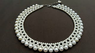 How To Make Pearl Necklace//Designer Necklace// Useful \u0026 Easy