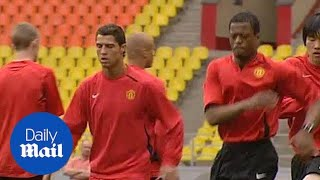 Patrice Evra and Cristiano Ronaldo at Manchester United training