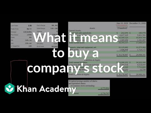 What It Means To Buy A Company's Stock | Stocks And Bonds | Finance & Capital Markets | Khan Academy