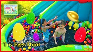 Slime Pool Surprise Toys Hunt on Huge Inflatable Water Slide! Outdoor Play