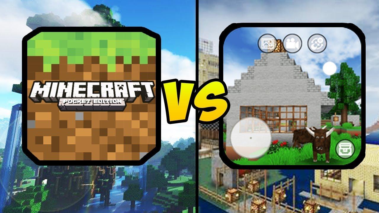 """MINECRAFT POCKET EDITION VS MINI BLOCK CRAFT 3D"" (Minecraft PE, Mobile Games, iOS, Android)"