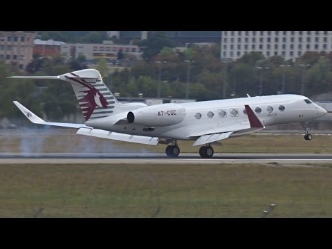[FullHD] Qatar Executive Gulfstream G650 landing at Geneva/GVA/LSGG