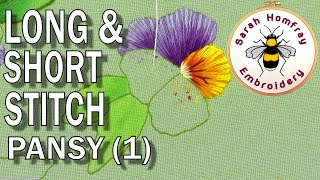 How to silk shade (Long & Short stitch) - Pansy Part 1