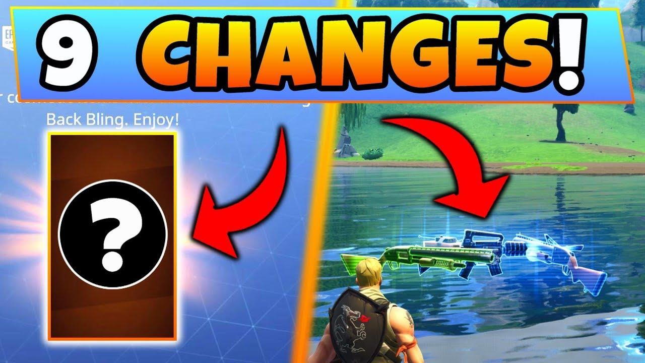 Fortnite Update 9 Secret Changes New Back Bling Rocket Launch