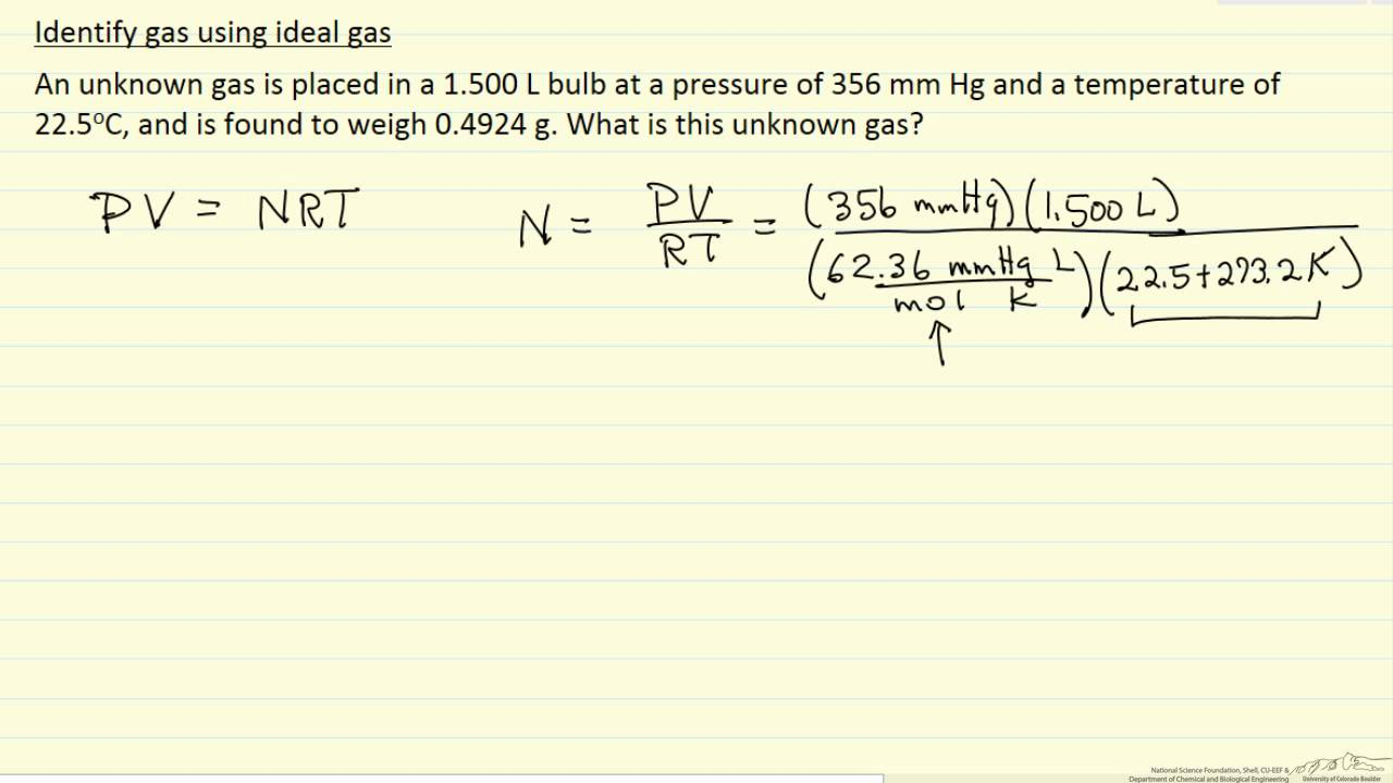 Identify Gas Using Ideal Gas Law (example)