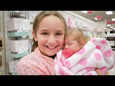 Shopping with Reborn Baby Doll Olivia for Newborn Baby Suppl