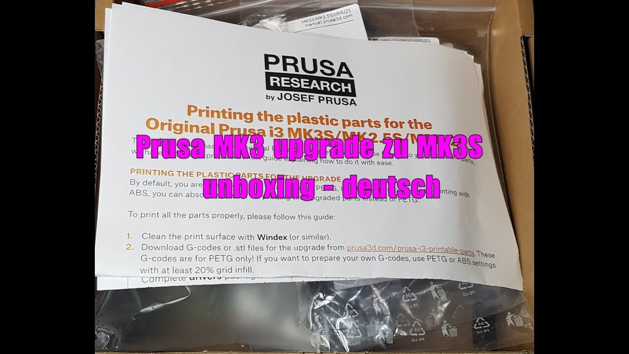 photo about Prusa Printable Parts named Prusa MK3 Up grade zu MK3S unboxing - deutsch