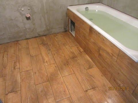 Часть-7.Как обойти ванну гипсокартоном и приклеить плитку Cerrad Floor на пол+ экран под ванной.