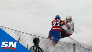 Alexander Romanov Lays Out Erik Brännström With Huge Open Ice Hit